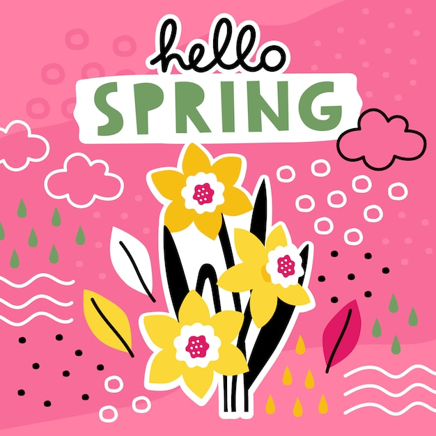 Hello spring hand drawn template with flowers collage. Premium Vector