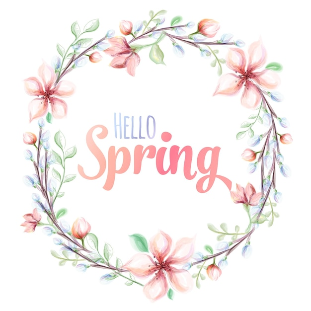 Привет весна нарисованная вручную акварельная иллюстрация. открытка с акварельным цветочным венком. Premium векторы