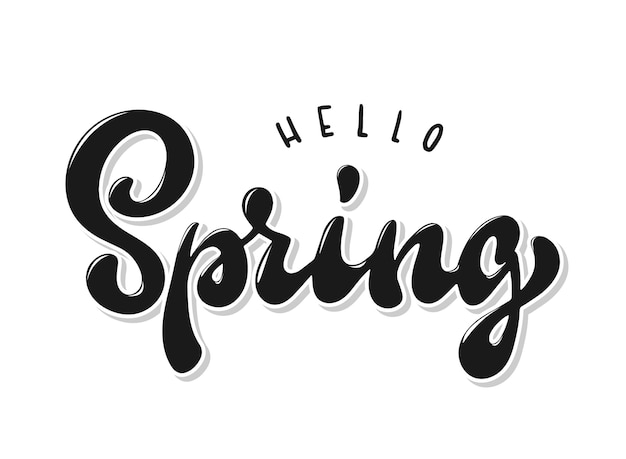 Hello spring hand lettering quote Premium Vector