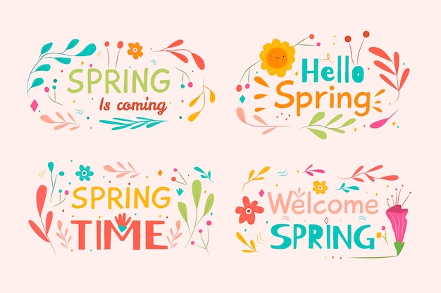 Hello spring label collection with leaves and sun Free Vector