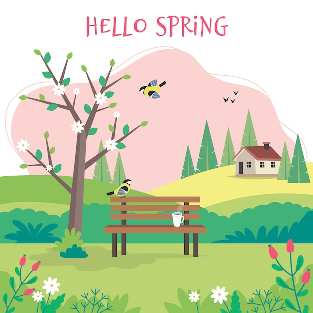 Hello spring, landscape with bench, flourishing tree, house, fields and nature. Premium Vector