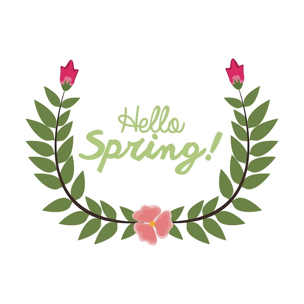 Hello Spring Letter Decorating Wreath Leaf And Flower Season
