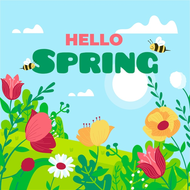 Hello spring lettering concept Free Vector