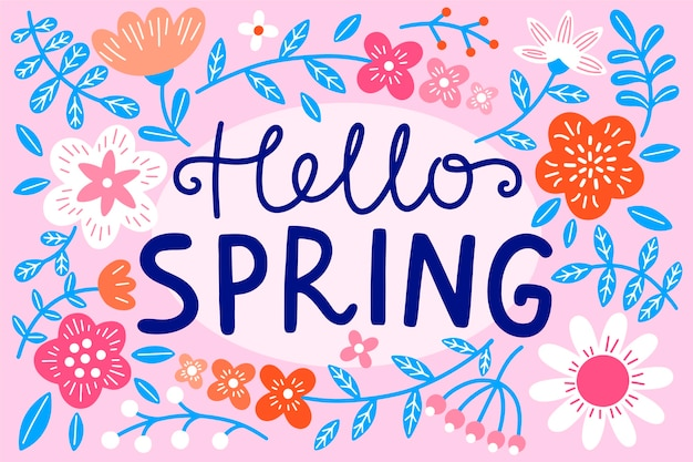 Hello spring lettering theme Free Vector