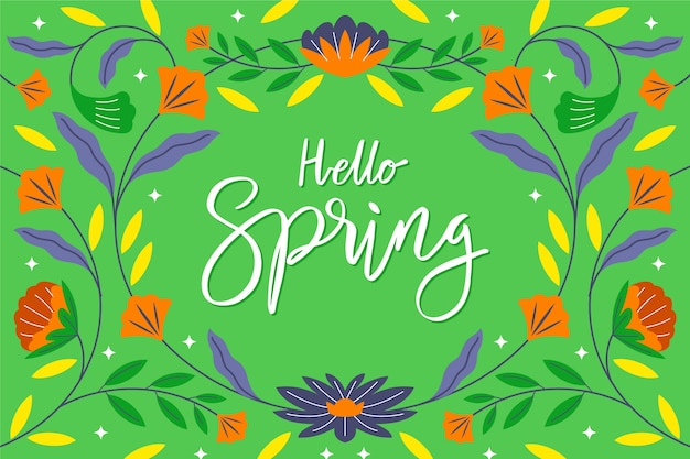 Hello spring lettering wallpaper Free Vector