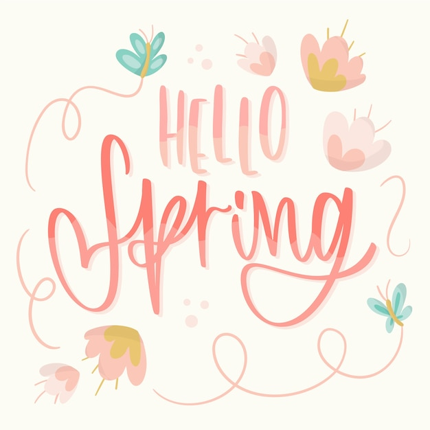 Hello spring lettering with butterflies and flowers Free Vector