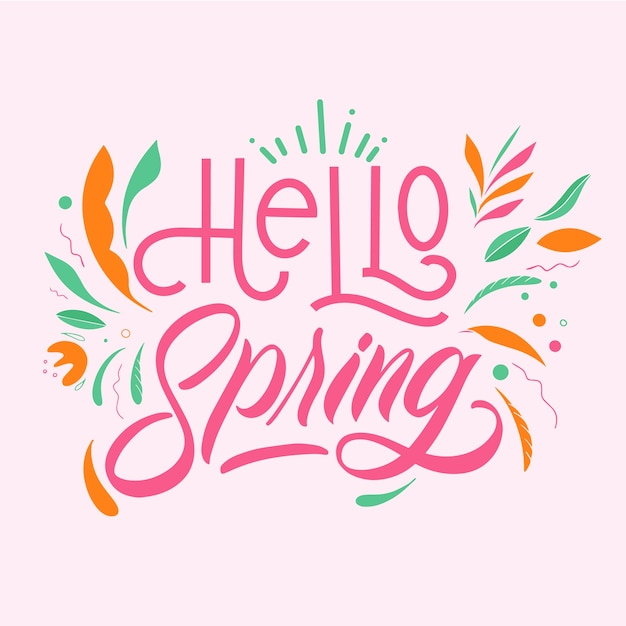 Hello spring lettering with colorful decoration Free Vector