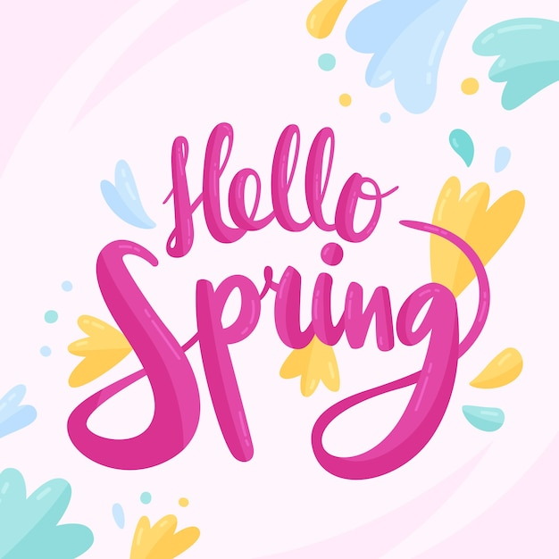 Hello spring lettering with colourful decoration Free Vector