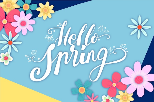 Hello spring lettering with decoration theme Free Vector