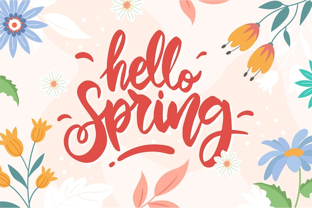 Hello spring lettering with decoration Free Vector