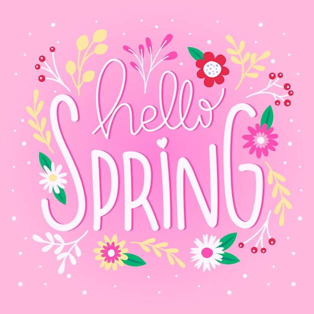 Hello spring lettering with flowers Free Vector