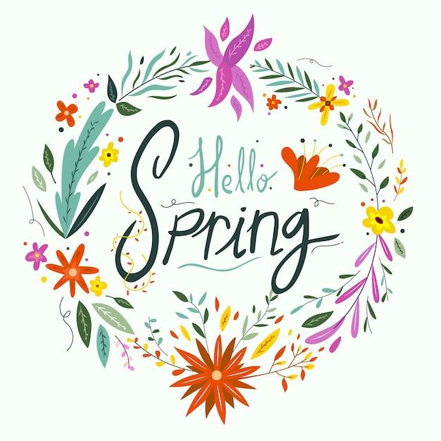 こんにちは、春の花レタリング 無料ベクター