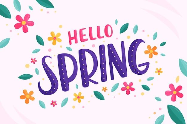 Ciao scritte di primavera con foglie e fiori Vettore gratuito