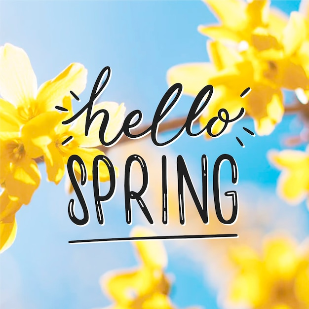 Hello spring lettering with photo style Free Vector