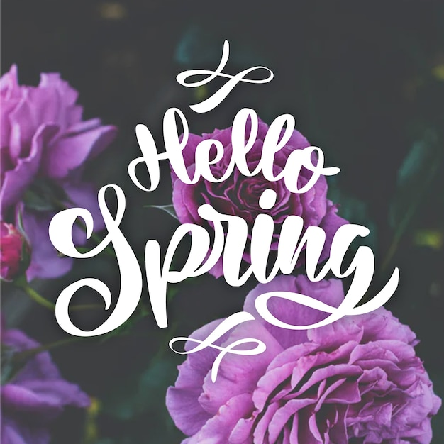 Hello spring lettering with photo theme Free Vector