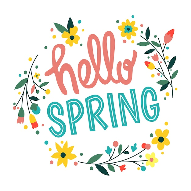 Hello spring lettering Free Vector