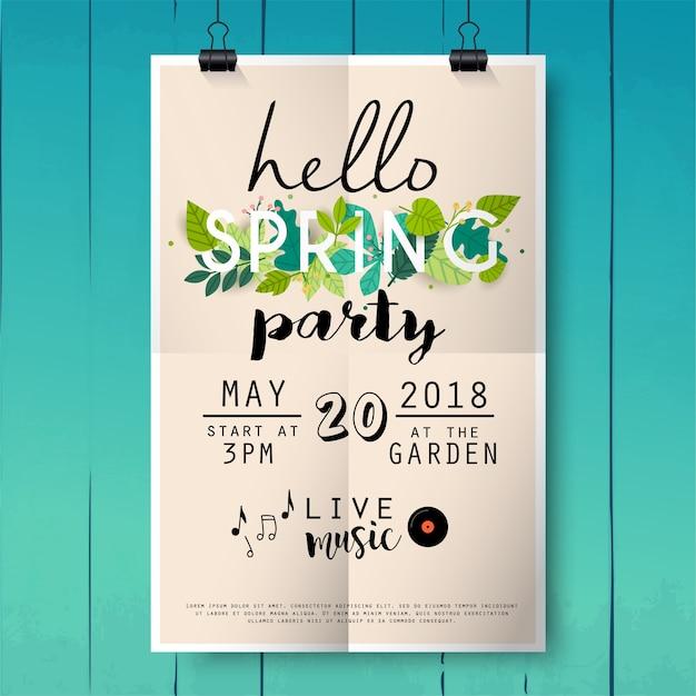 こんにちはウッドテクスチャ背景に春パーティーポスターレタリング。 Premiumベクター
