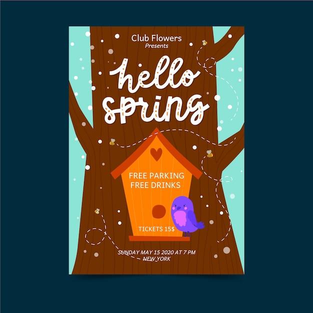 こんにちは春の鳥の家のポスター 無料ベクター