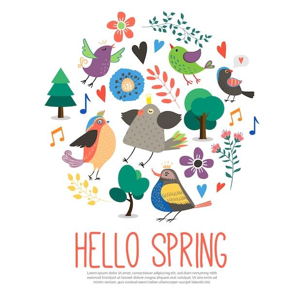 Ciao modello tondo primavera in stile piatto Vettore gratuito