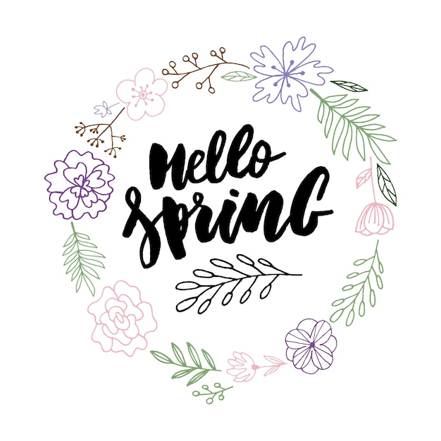 Hello spring sale background with beautiful flower Premium Vector