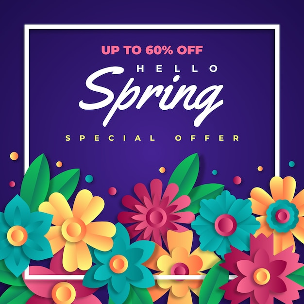Hello spring sale in paper style Free Vector