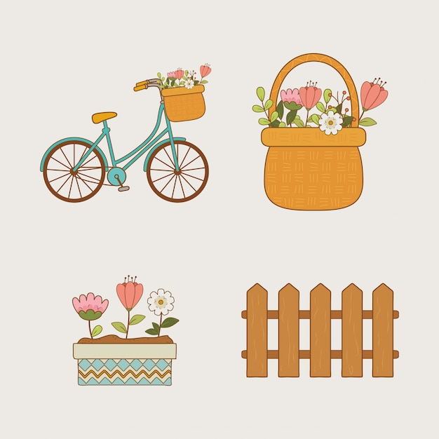 Hello spring set icons Premium Vector
