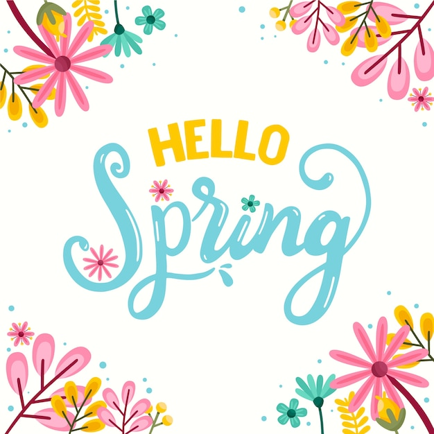 Hello spring theme for lettering with decoration Free Vector
