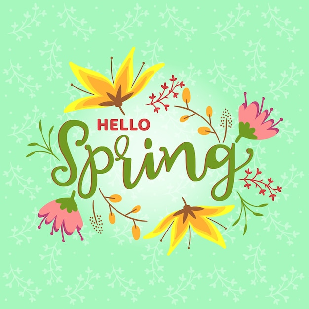 Hello spring theme for lettering Free Vector