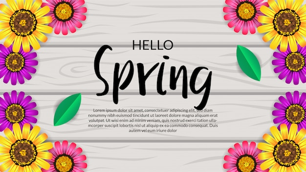 Hello spring top view flower blossom  on the wood Premium Vector