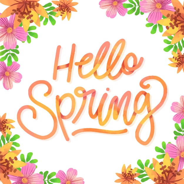 Hello spring typography with colorful decoration Free Vector