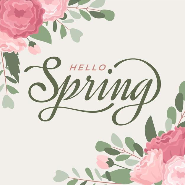 Ciao primavera tipografia Vettore gratuito