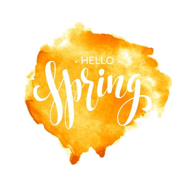 こんにちは春の水彩レタリングデザイン。図 Premiumベクター