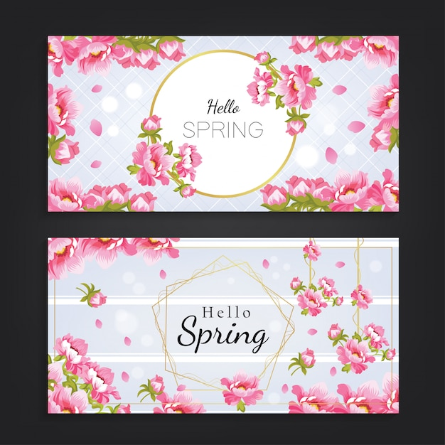 Hello spring with beautiful flower background Premium Vector