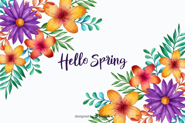Hello spring with blossom flowers Free Vector