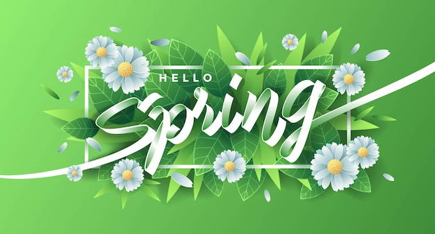 Hello spring with flowers and leaves Premium Vector