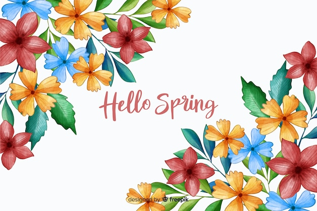 Hello spring with spring flowers Free Vector
