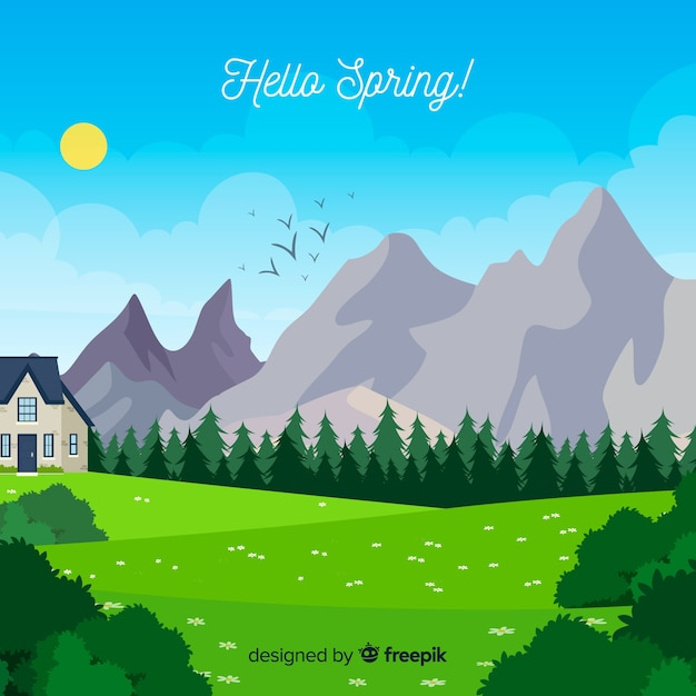 Hello spring Free Vector
