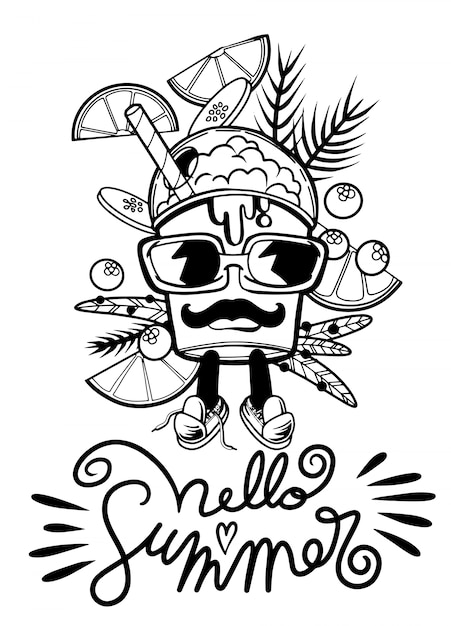 Hello sumer with beverage character doodle style Premium Vector