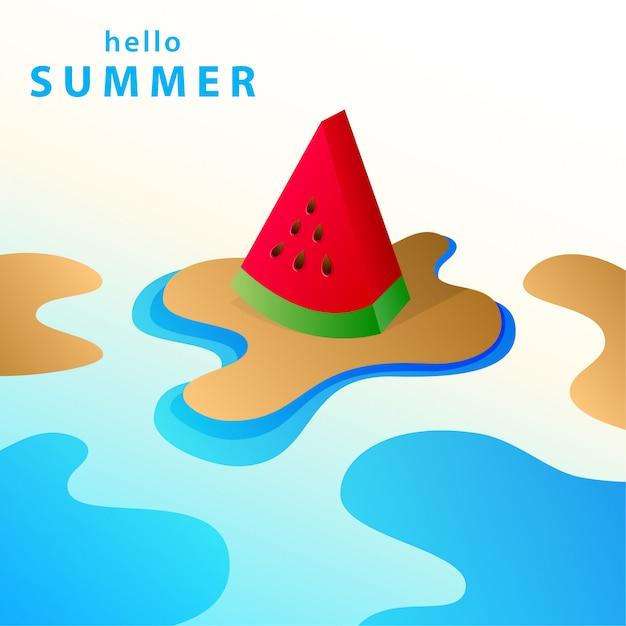 Hello summer background illustration Premium Vector
