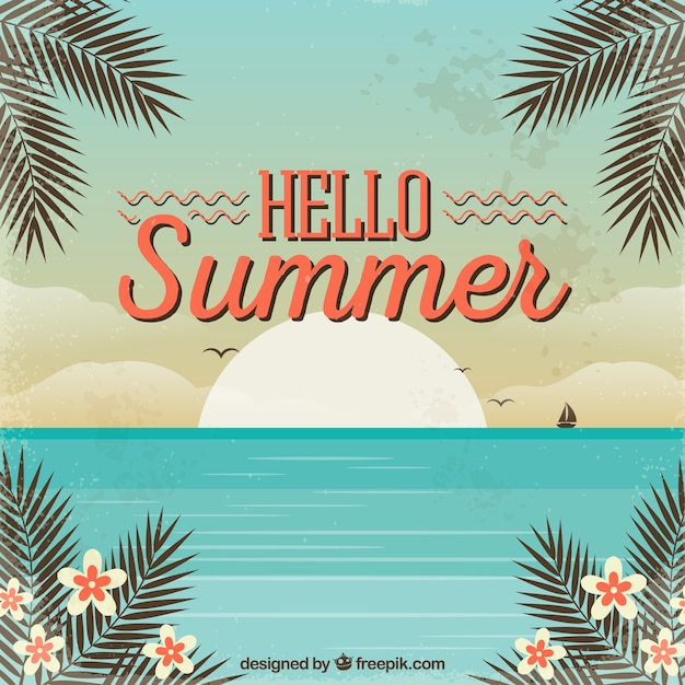 Hello Summer Background With Beach In Vintage Style Vector