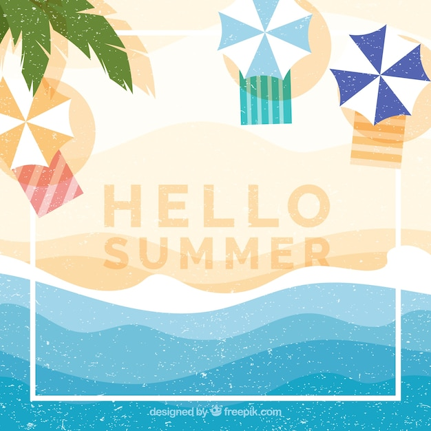 Hello summer background with beach top view Free Vector