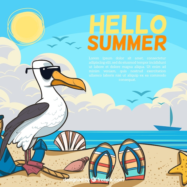 Hello summer background with beach Free Vector