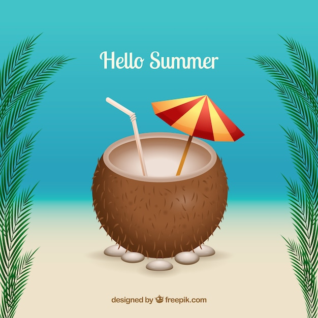 Hello summer background with coconut drink in\ realistic style