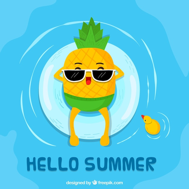 Hello summer background with cute pineapple cartoon Free Vector