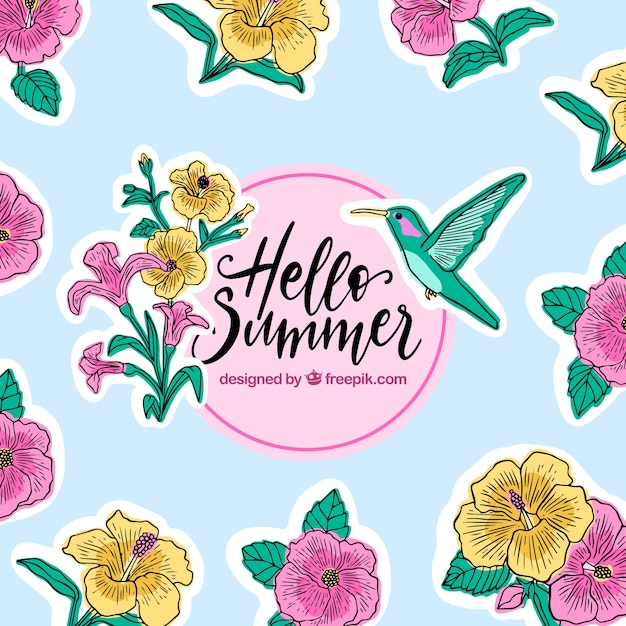 Hello summer background with flowers and hummingbird Free Vector