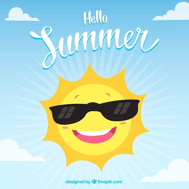 Hello summer background with funny sun Free Vector