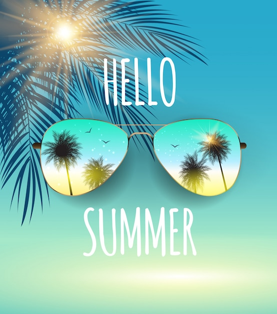 Hello summer background with glass and palm. Premium Vector