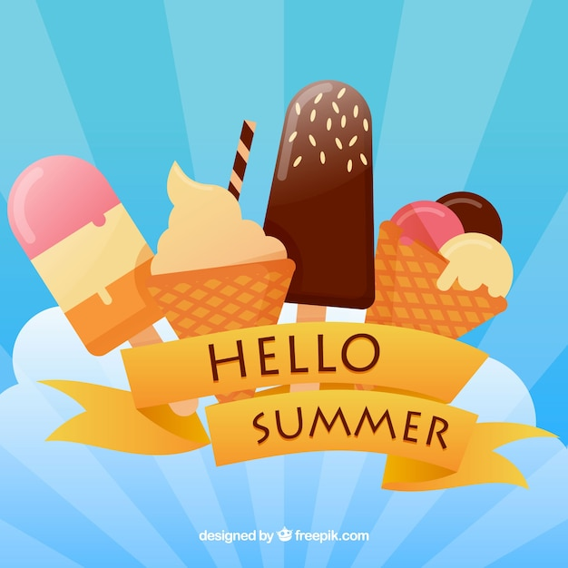 Hello summer background with ice crea Free Vector