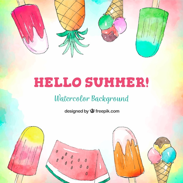 Hello summer background with ice creams and fruits in watercolor style Free Vector