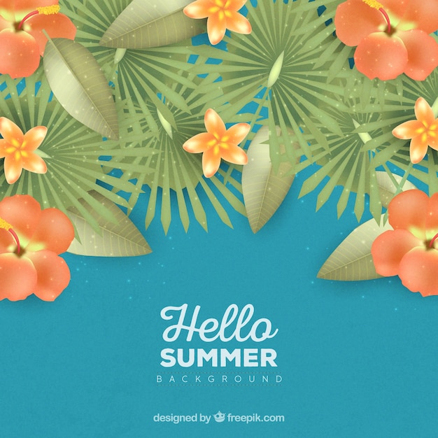 Hello summer background with orange flowers in\ realistic style